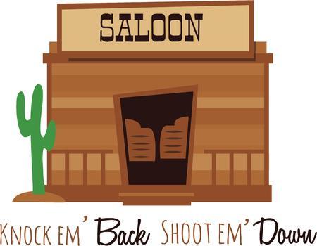 Cowboys will enjoy a saloon design on a cap. Ilustração
