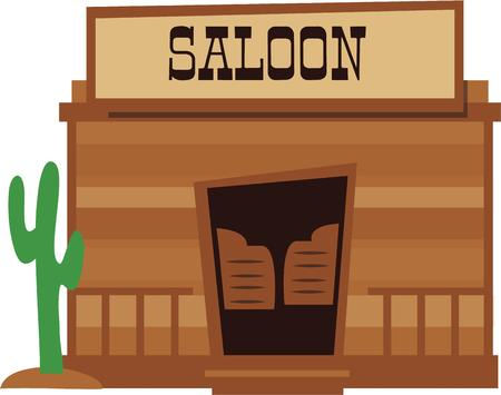 saloon: Cowboys will enjoy a saloon design on a cap. Illustration