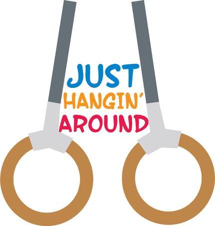 Accent a sports bag with gymnastic equipment. Illusztráció