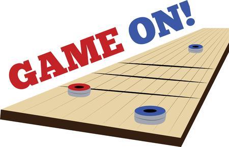 シャッフル ボードのゲームでゲームの時間楽しみを作る。