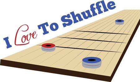 シャッフル ボードのゲームでゲームの時間楽しみを作る。 写真素材 - 44834776