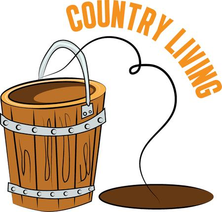 A bucket can be a nice accent on a country themed project. Иллюстрация