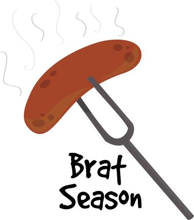 bratwurst: Make an apron for a cook with a steaming hot dog. Illustration