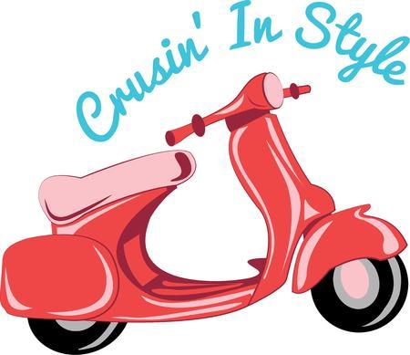 Andare avventurandosi con uno scooter vespa. Archivio Fotografico - 44804135