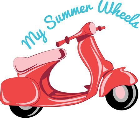 Andare avventurandosi con uno scooter vespa. Archivio Fotografico - 44804133