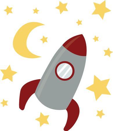 Laat je verbeelding op een raket naar de sterren vliegen. Stock Illustratie