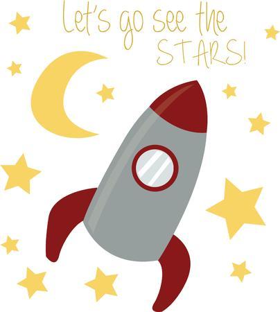 Let your imagination fly to the stars on a rocket ship. Ilustração