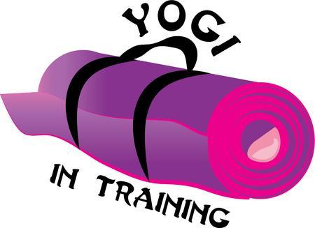 요가 매트와 운동 장비를 강조.