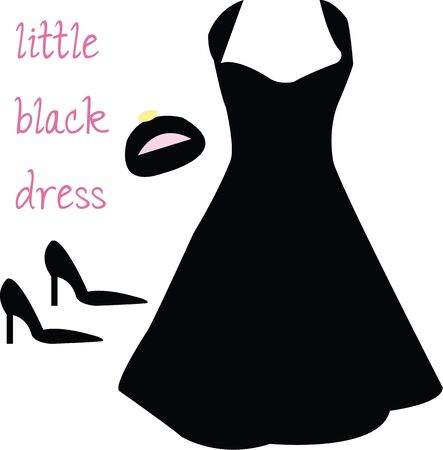 black woman: Every woman wants the perfect little black dress. Illustration