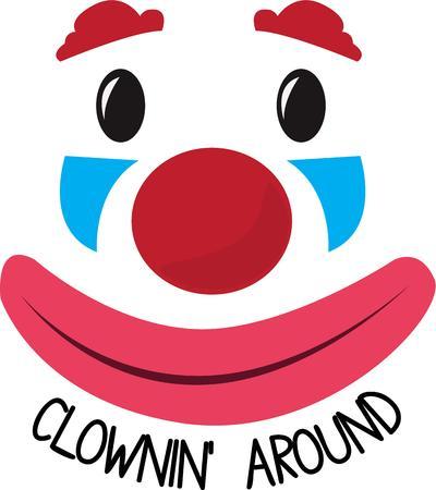 visage peint: Un clown est une merveilleuse d�coration pour une p�pini�re.