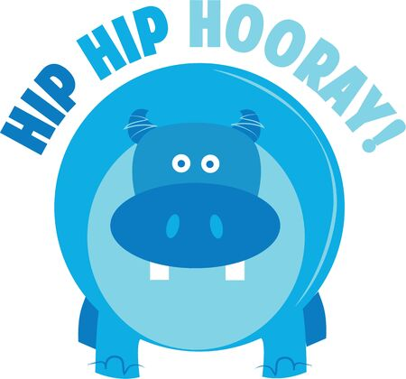 A hippo will look fun on a t-shirt. Ilustracja