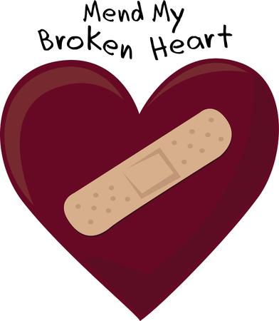 mend: Mend a broken heart with a valentine gift of love. Illustration