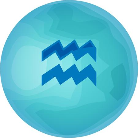 water bearer: Display your zodiac sign and its planet.