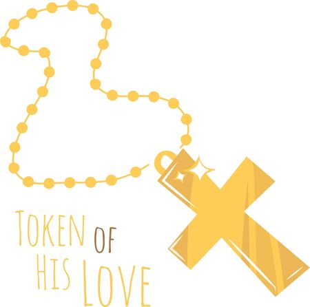 calvary: Show off your religious beliefs with this pretty gold cross. Illustration