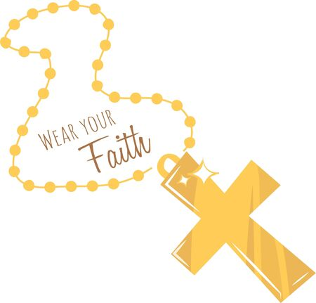gold cross: Show off your religious beliefs with this pretty gold cross. Illustration