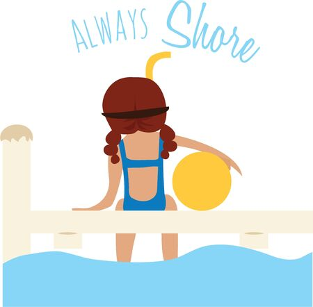 jetty: Accent a summer beach bag with a swim scene. Illustration