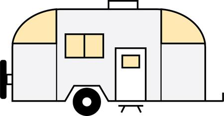 recreational vehicle: Take this camper on a traveling adventure. Illustration