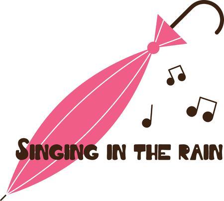 Accent your rain gear with a pretty pink umbrella. Illustration