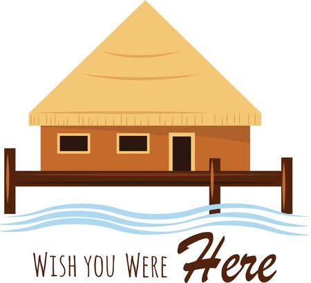 Put an island hut on your beach wear.