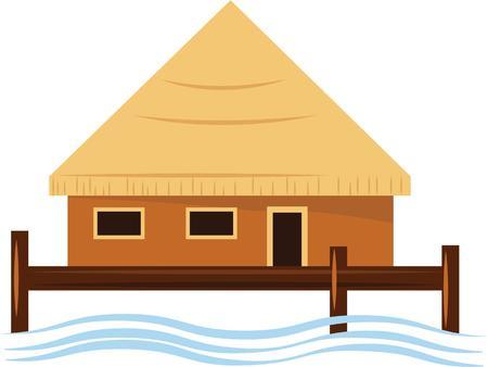 hut: Put an island hut on your beach wear.