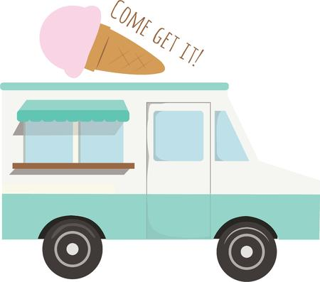 sherbet: Everyone will enjoy a cone of ice cream. Illustration