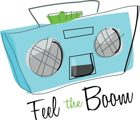 boom box: Enjoy music on a boom box.