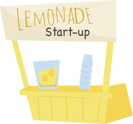 Make a fun summer t-shirt with a lemonade stand.