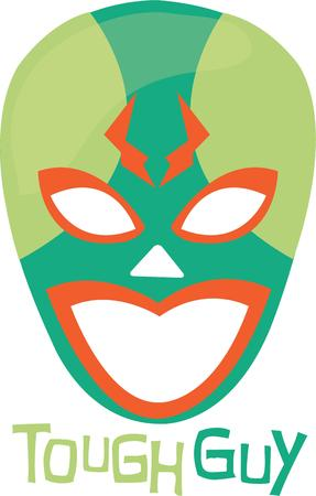 wrestle: Wrestling fans will love a lucha libre mask on a t-shirt. Illustration