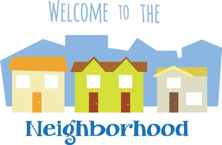 residential neighborhood: Colorful houses are a great design for a housewarming gift.