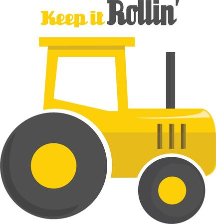 This tractor will look great on a farmers hat. Illustration