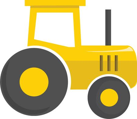 yellow tractors: This tractor will look great on a farmers hat. Illustration