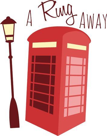 Een Britse telefooncel is een klassiek Europees symbool voor een reis-project. Stock Illustratie