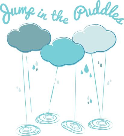 Accent your rain wear with clouds and showers.