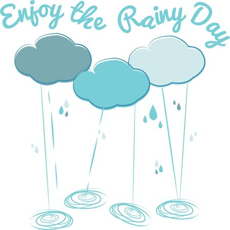 showers: Accent your rain wear with clouds and showers.