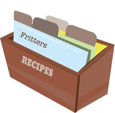 Accent un livre de cuisine avec une boîte de recettes.