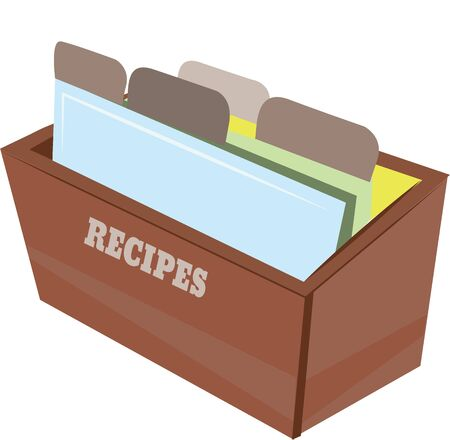 Accent een kookboek met een doos van recepten. Stock Illustratie