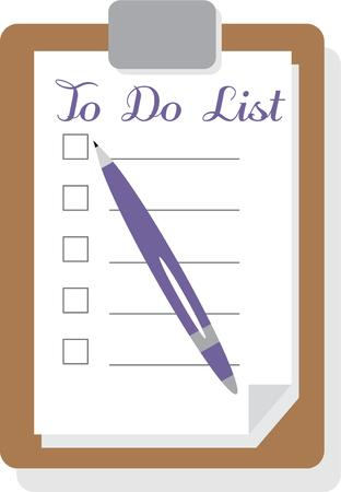 Make a list to make notes of your chores.