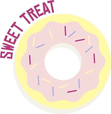 tratar: Doughnuts make a great treat. Ilustração