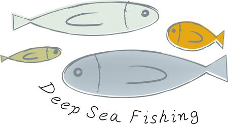 These fish will make a great design on a fisherman's hat. Иллюстрация