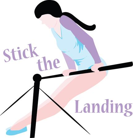 show off: Show off your love of gymnastics with this girl. Illustration