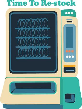 distribution automatique: Get a snack out of this machine. Illustration