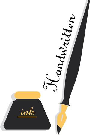 Display your love for vintage writing with an ink well and pen. Ilustração