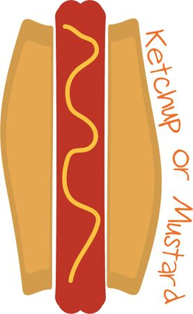 Add a delicious hot dog to a tablecloth for a picnic. Illustration
