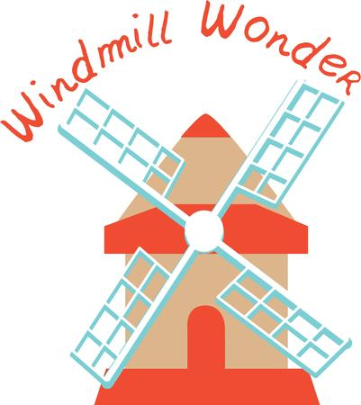 A windmill is a classic European travel scene, Vectores