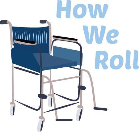 Accent mobility equipment with a cool wheelchair. Illusztráció