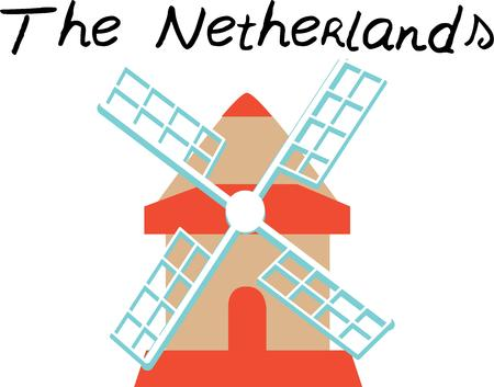 A windmill is a classic European travel scene, Ilustrace