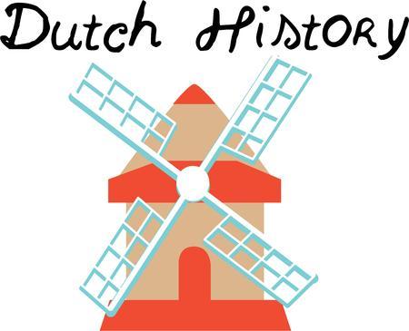 aero generator: A windmill is a classic European travel scene, Illustration