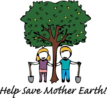 Celebrate arbor day by planting a tree. Stock Illustratie