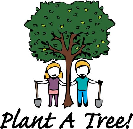 planting a tree: Celebrate arbor day by planting a tree. Illustration