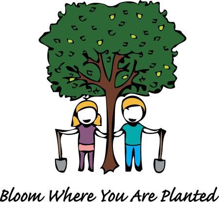 plantando un arbol: Celebre día del árbol con la plantación de un árbol.